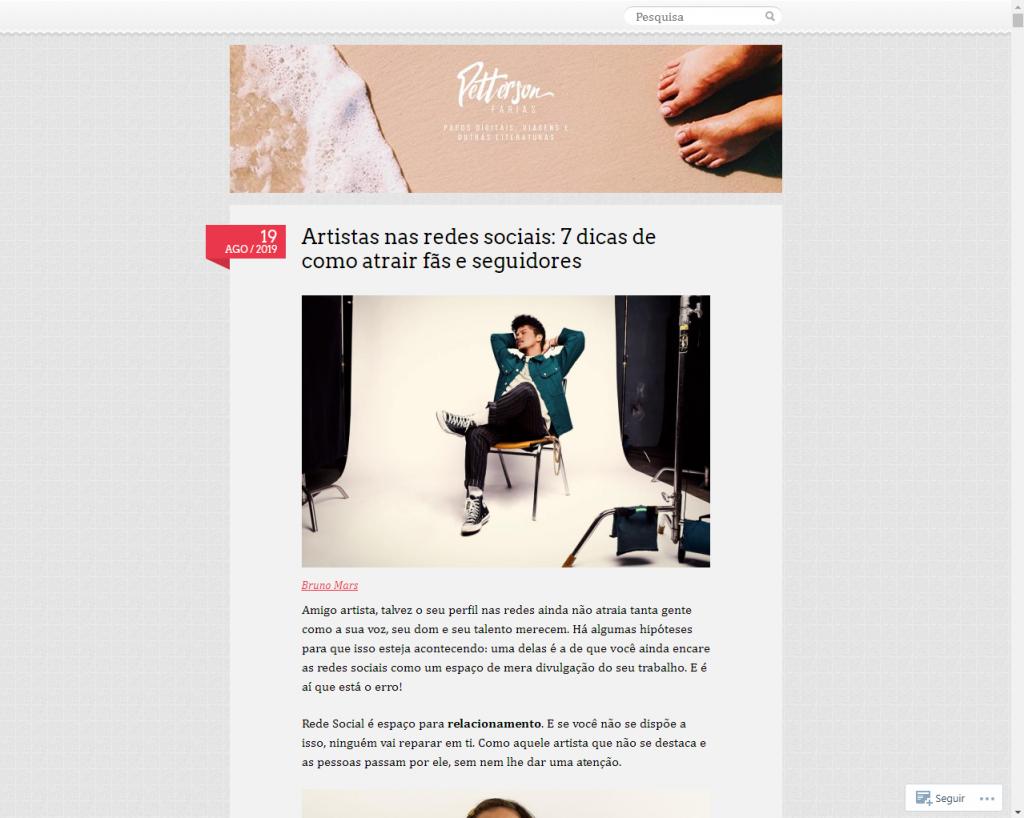 Print da tela do Blog do Petterson