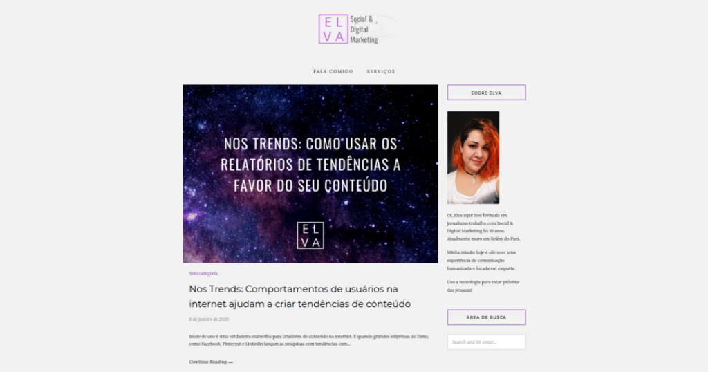 Print da home do blog da Elva